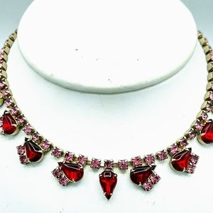 Vintage Pink and Red Rhinestone Necklace